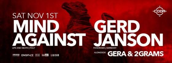Mind Against & Gerd Janson - Nov 1 @ CODA